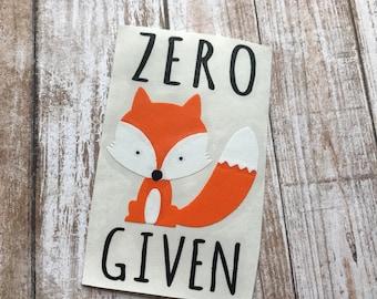Zero Fox Given Car Laptop Decal