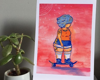 A5 Beautiful Skateboarding Girl Print - Body Positive Art - Plus Size Skater with Tattoos at Sunset