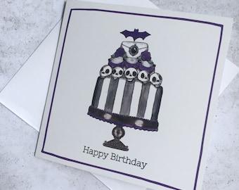 Elegant and Pretty Goth Birthday Card - Cute Spooky Illustrated Birthday Card - Gothic Birthday Décor