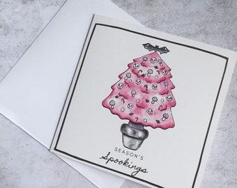 Goth Christmas Card - Dark Kawaii Square Illustrated Greeting Card - Season's Spookings - Gothmas