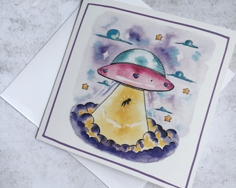 Funny Leaving Card - Birthday Card, Blank Card, Alien Birthday Card, Goodbye Card, Miss you Card - Square Illustrated Greeting Card