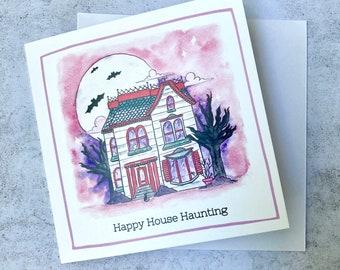 New Home Card - Goth housewarming card - Square Illustrated Greeting Card - House Warming Card - Goth Card