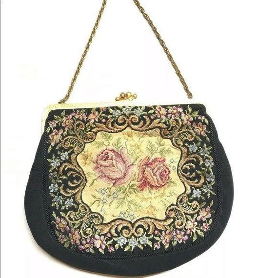 Antique Needlepoint embroidery floral black clutch
