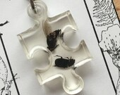 Fly and Beetle Puzzle Piece Pendant