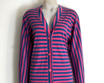 MERIVALE!!! Vintage 1980s 'Merivale' blue and pink striped jersey dress with button front