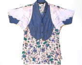 MERIVALE Vintage 1980s 39 Merivale 39 patchwork denim and floral print shirt with lace, appliqué and stud detailing Made in France