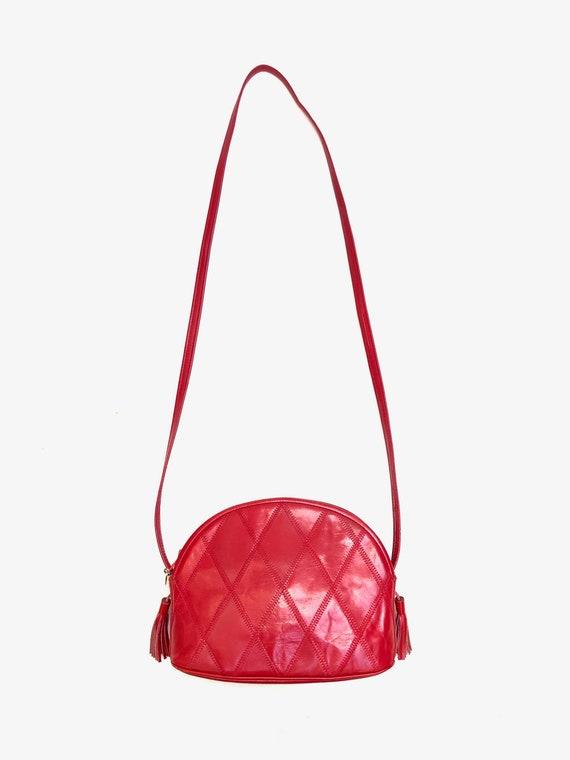 Vintage 1980s 'Swan' red leather patchwork shoulde