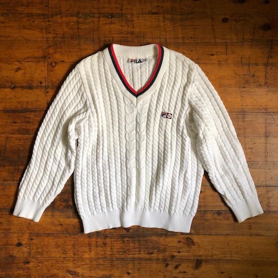 FILA!!! Vintage 1990s 'Fila' white cable knit swea