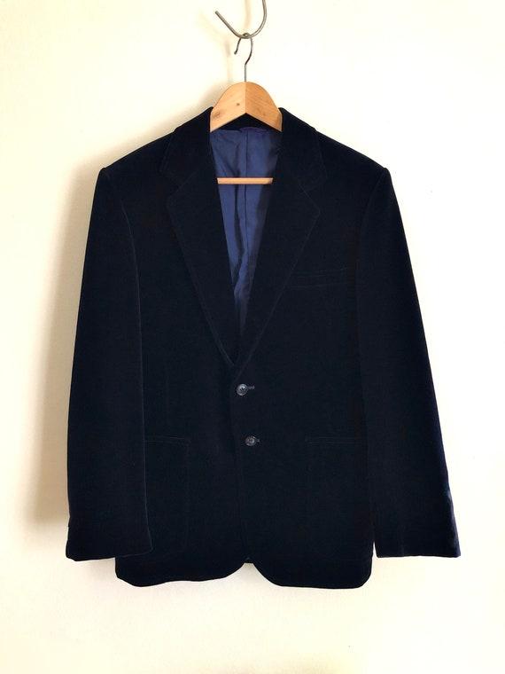 Vintage 1970s mens 'Gee Zeds' navy blue velvet jac