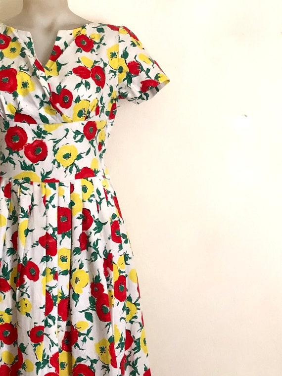 Vintage 1950s floral print dress - image 4