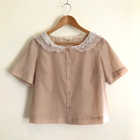 Vintage 1960s collared, beige blouse