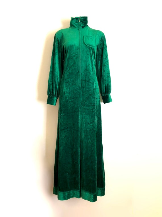 Vintage 1970s green velour jumpsuit