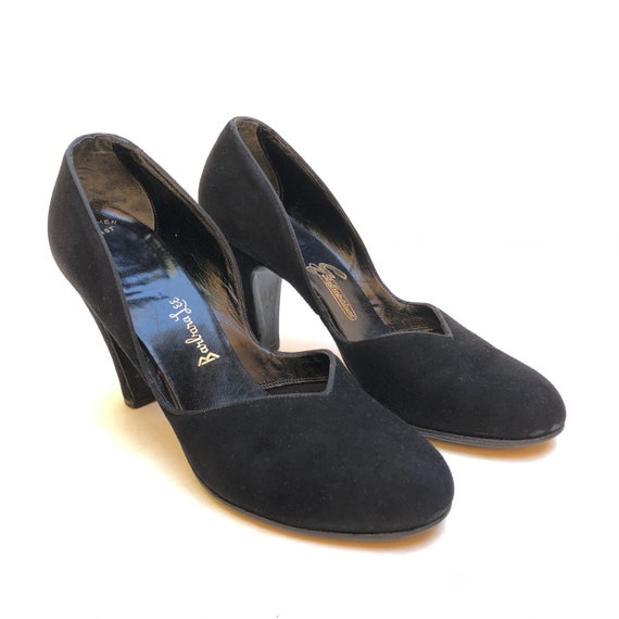 Vintage 1930s/40s 'Barbara Lee' black suede leathe