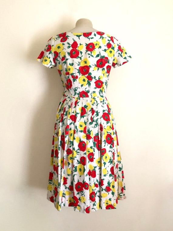 Vintage 1950s floral print dress - image 3