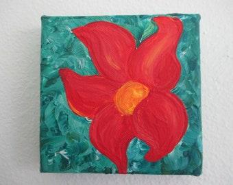 Red Orange Flower Handmade Original Acrylic Painting on Canvas