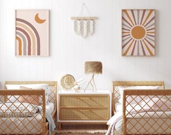 Set of 2 Boho nursery art prints, rainbow printable art, unisex bedroom art prints. Digital to print your own.