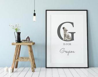 Personalised Name Print, Baby Boy Printable, Baby Shower Gift , Boys Nursery Print, Wolf Pup,  Customised Name Print, Nursery decor -DIGITAL