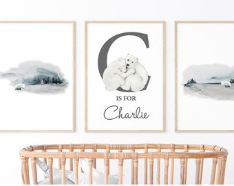 Printable Personalised Name Print, Baby Name Art, Baby Shower Gift, Boys Nursery Print,  Polar Bear Print , Custom Name Print, Nursery decor