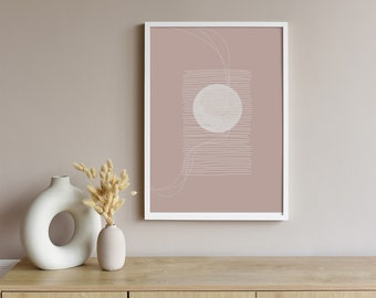 Neutral tone digital art - Dusty pink printable wall art, Abstract art living room, Abstract Moon line art drawing.
