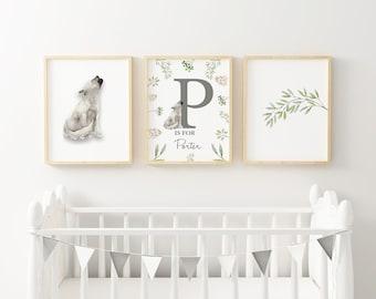 Personalised digital Name Print, Baby Boy Name Art , Baby Shower Gift, Boys Nursery Print, Wolf Pup, Customised Name Print, Nursery decor