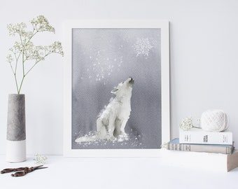 Wolf Art Print, Grey and White Printed Nursery Art. Wolf Art, Wolf nursery decor. Woodland nursery decor. Boys nursery art. Kids bedroom Art