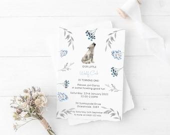 Wolf Cub Baby Shower Invitation  in Blue Greys // Baby Wolf baby shower  // Wolf invitation // Boy Baby Shower Invitation - Digital files
