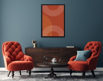 Arch design print, Geometric printable art, mid century art for your home, just print and hang. Mid Century bedroom art in dark terracotta