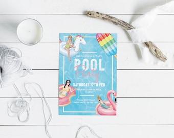 Summer Party Invitation // Pool Party Invitation // Teenage Party Invitation // 16th Birthday Party // Custom Invitation