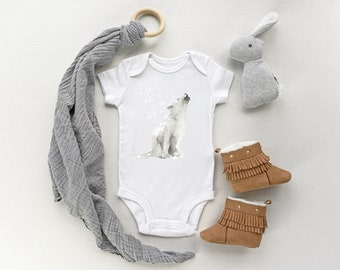 Baby short sleeve onesie featuring a wolf howling in the snow print, Baby body suit with a wolf cub, Baby shower gift, matches nursery print