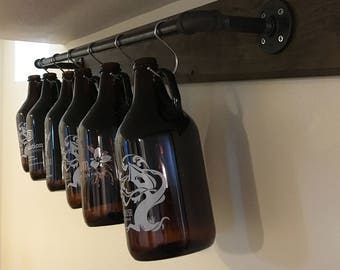 Growler Rack Display, Storage and Organization – Perfect Gift for Craft Beer Lovers, Birthdays, Housewarming Gift!! (Growlers NOT Included)