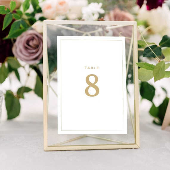 Wedding Table Numbers with Gold Frames: Calligraphy Metallic | Etsy