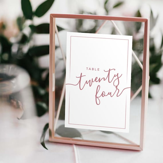 Wedding Table Numbers With Rose Gold Frames Copper Etsy