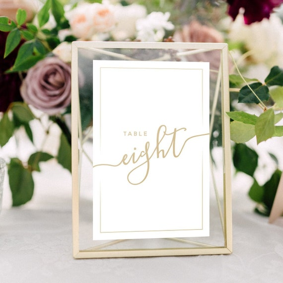 Wedding Table Numbers With Gold Frames Calligraphy Metallic Etsy