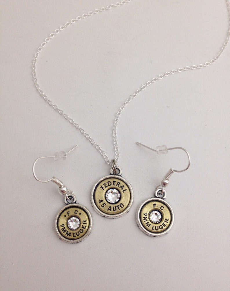 bullet necklace Simple belle bullet jewelry dangle earrings set bullet earrings Bullet jewelry
