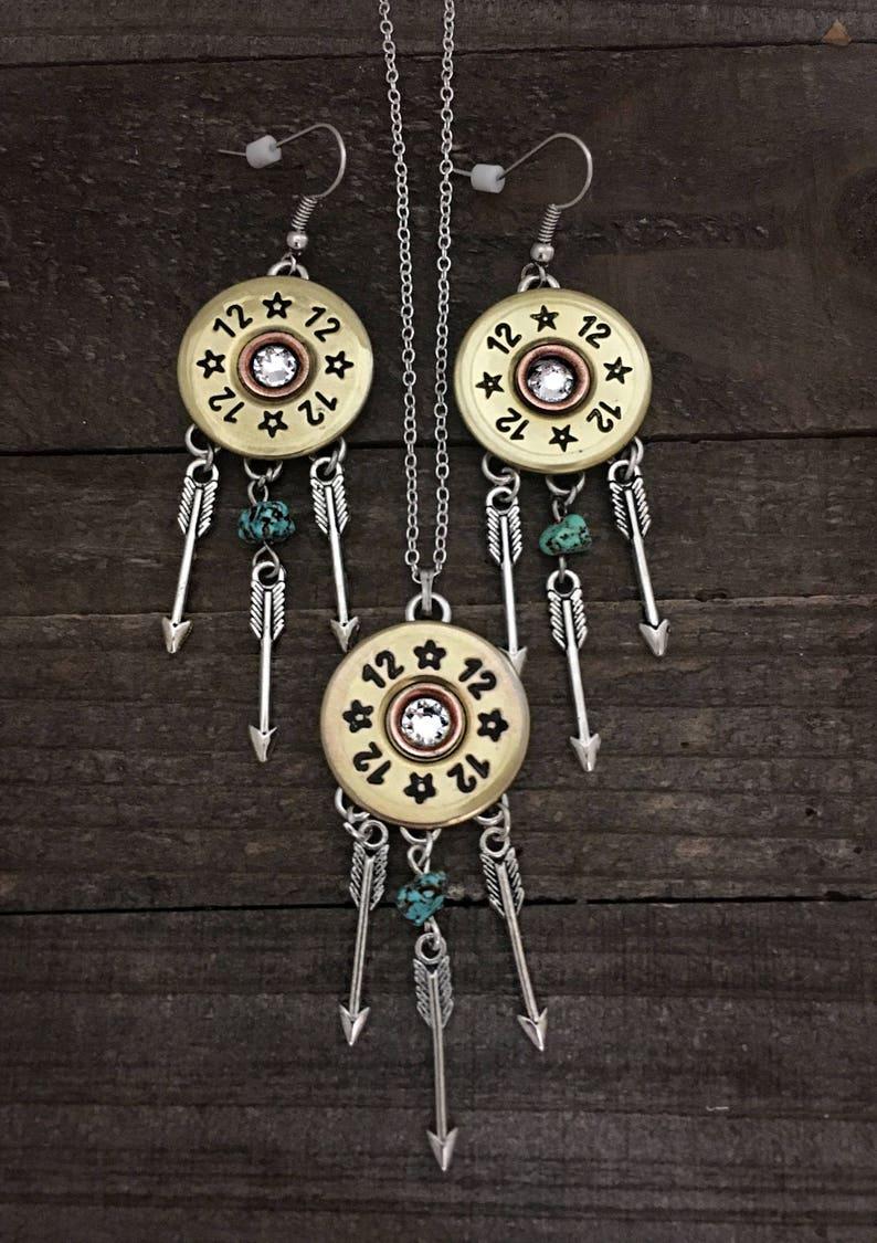 Dreamcatcher earrings and necklace set 12 gauge set