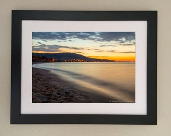 Sunset lights, Landscape photography, Home decor, Wall hanging, Ready to frame, Sunset, Lights, Beaches, Ocean