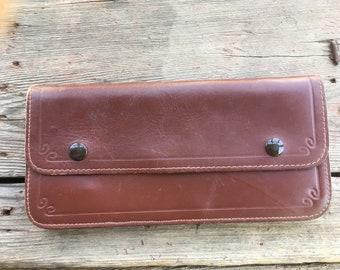 4e74e146ed38a Truckers Bikers Wallet - Leather Snap Wallet - Vintage Worn Leather Roper -  Brown Biker Wallet - Trucker Money Case - Tooled Leather Wallet