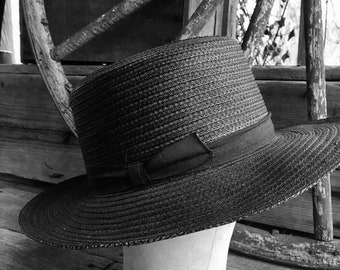 Black Amish Straw Hat - Authentic Summer Black Straw Wide Brim Fedora -  Size 7 Long Oval - Park Plaza Lacquered Black Open Crown Amish Hat 3e639aeb836d