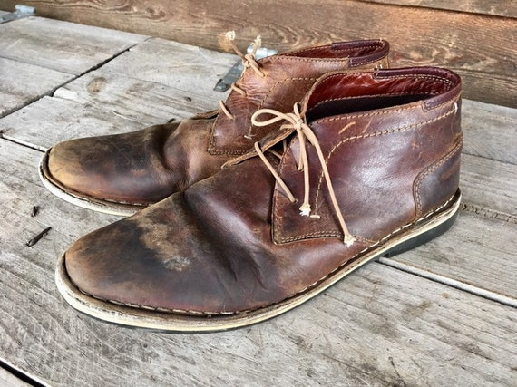 96b384ee23b Steve Madden Boots Harken/Mens Size 10 Brown Leather Cognac Brogans/Costume  Distressed Chukka Boots/Handcrafted Stitched Leather Footwear