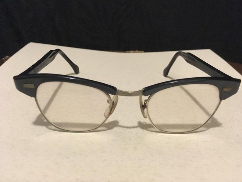 702a999014bb Blue Eye Glasses Vintage Horn Rim Browline US Optical 12K | Etsy