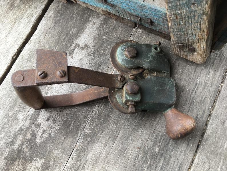 Antique Sharpener Opener - Wooden Handle Blade Grinder - Sickle Mower Blade  Hone - Primitive Farm Tool Hone - Industrial Sharpener Alignment
