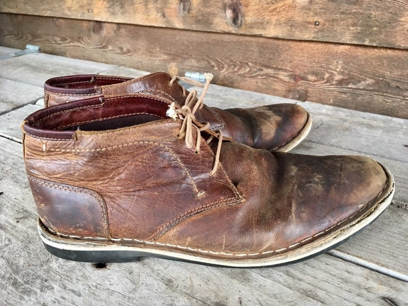 0a0b1d6e65608 Steve Madden Boots Harken/Mens Size 10 Brown Leather Cognac Brogans/Costume  Distressed Chukka Boots/Handcrafted Stitched Leather Footwear