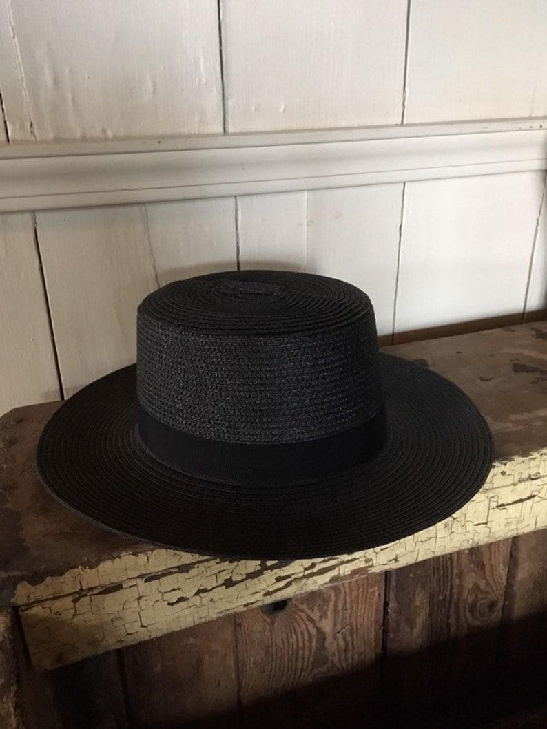 8d3d1de8455fa Amish Straw Hat Authentic Summer Black Straw Brim Fedora