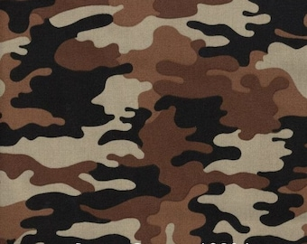 Desert brown camo fabric by the yard, brown camouflage fabric, desert camouflage, brown camo, brown camouflage, cotton camo, #18034