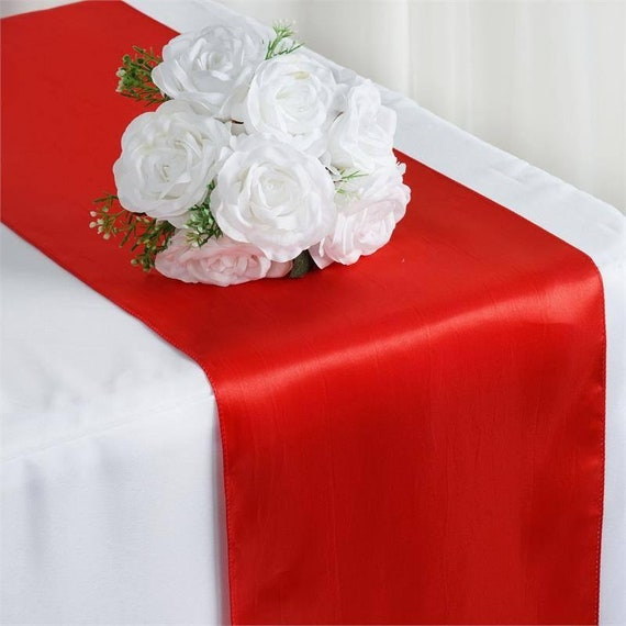 Red Satin Table Runner Wedding Table Runner 12x108 Wedding Decor Red Table Decor Red Wedding Decor Graduation Party