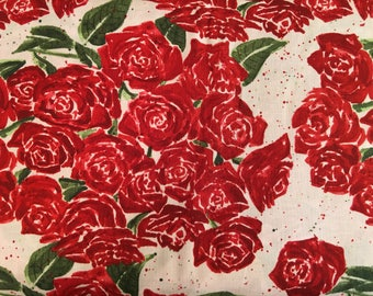 Rose fabric by the yard - red and light pink roses - red roses fabric - red and pink fabric - #17211