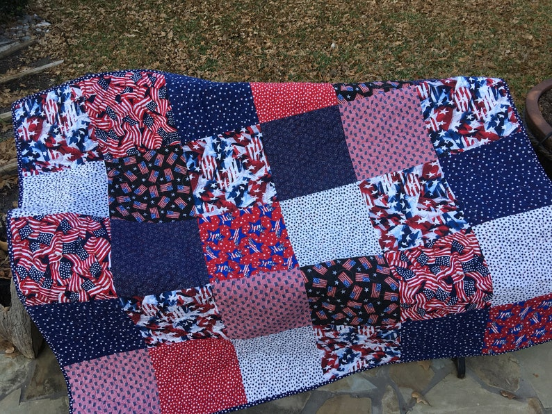 Patriotic Quilt Top Kit Red White And Blue Quilt Top Kit 4th Etsy