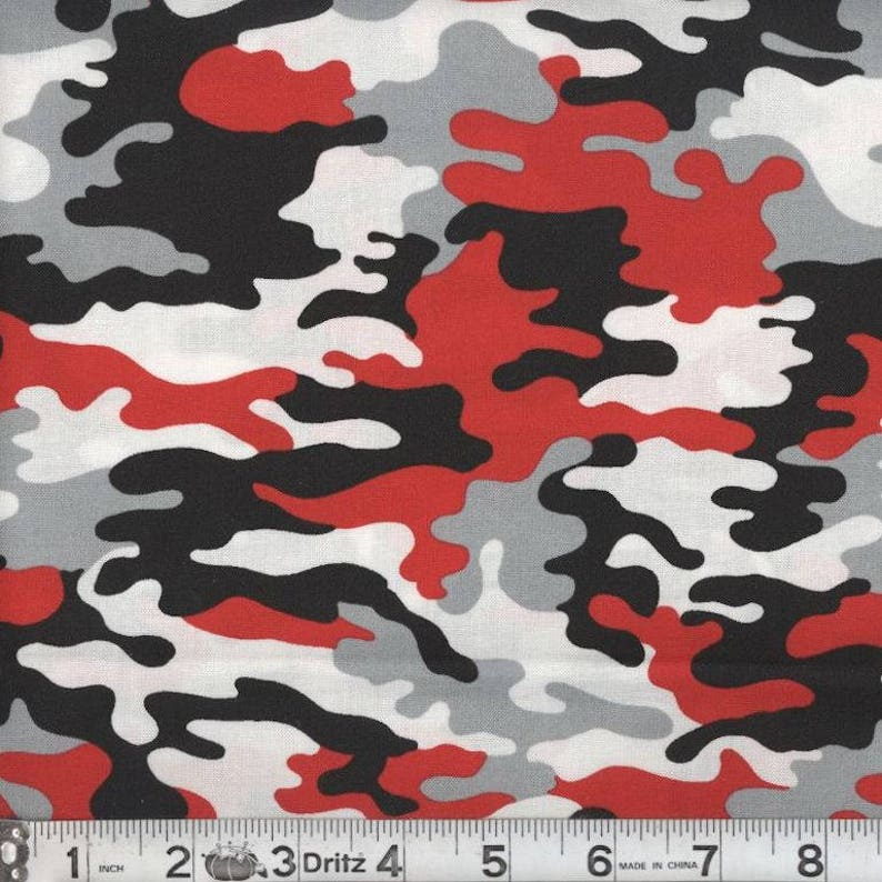 size 40 68ff6 67218 Red and black camo fabric by the yard camouflage fabric red   Etsy