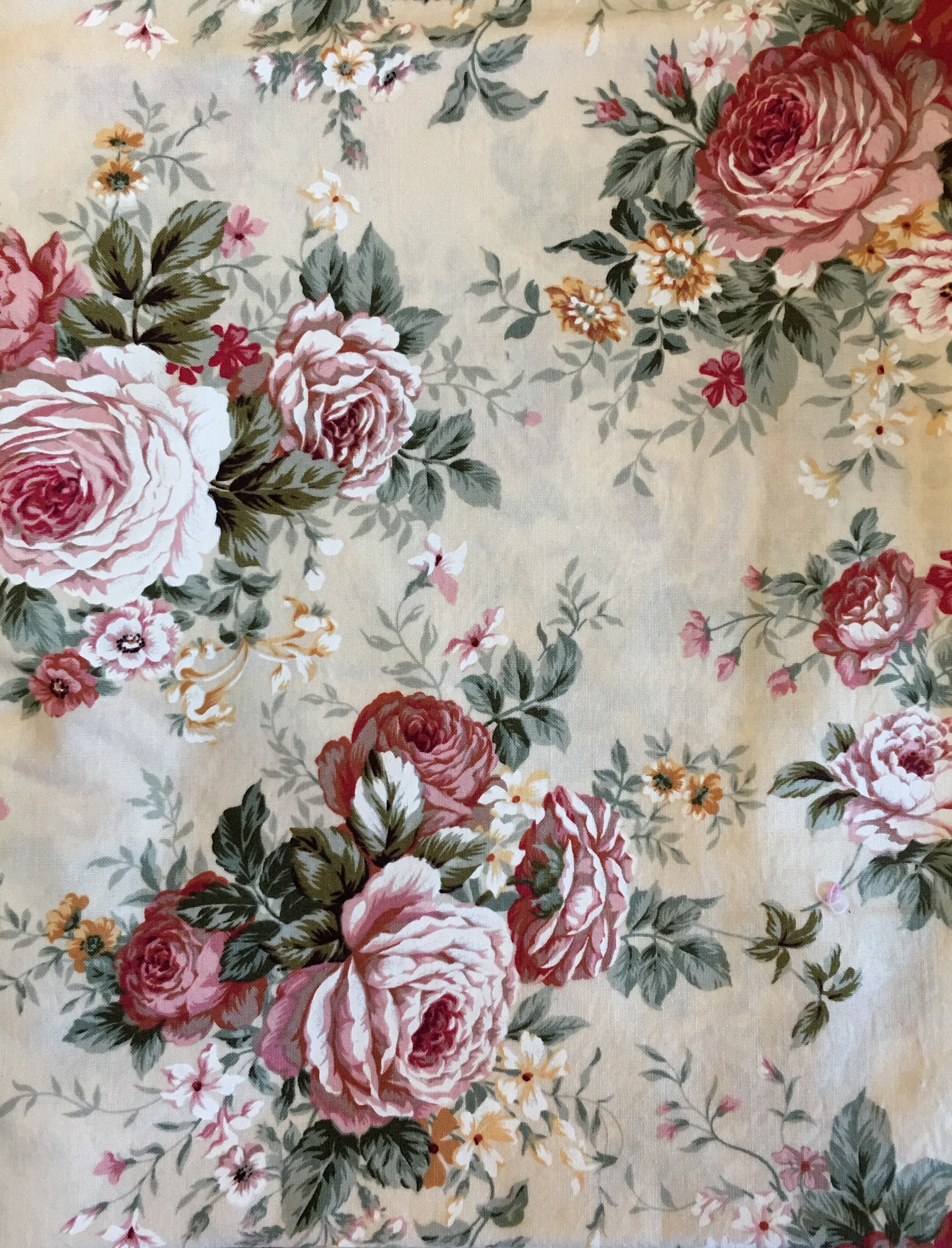 Cream Floral Fabric Off White Fabric Floral Fabric Etsy