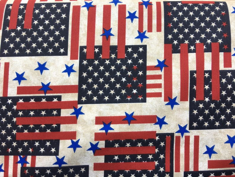 b17efbeb8df Patriotic fabric by the yard American flag fabric stars
